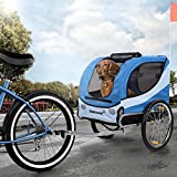 Happypet Hundeanhänger Hundetransporter Fahrradanhänger Hunde Fahrrad Anhänger Regenschutz inkl. Anhängerkupplung Regenschutz Navy BLAU