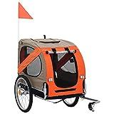 vidaXL Hundefahrradanhnger Fahrradanhnger Hundeanhnger Hundetransporter Haustieranhnger Hunde Fahrrad Anhnger Orange Braun Regenschutz