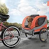 Happypet Hundeanhnger Fahrradanhnger fr Hunde Hundefahrradanhnger inkl. Anhngerkupplung Regenschutz Sunset ROT