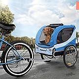 Happypet Hundeanhnger Fahrradanhnger fr Hunde Hundefahrradanhnger inkl. Anhngerkupplung Regenschutz Navy BLAU